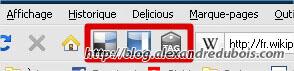 """Boutons de l'extension Firefox du service """"Del.icio.us"""""""