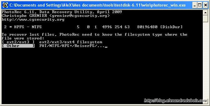 Sélection du système de fichiers