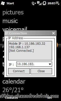 Fenêtre de connexion de MyMobiler. L'IP à retenir est la seconde ici.
