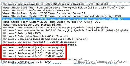 Les différentes versions disponibles de Windows 7 sur le portail MSDNAA