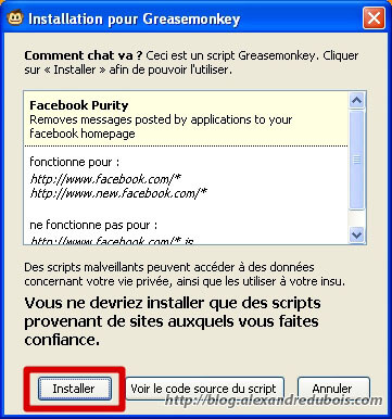 Confirmation de l'installation de FB Purity
