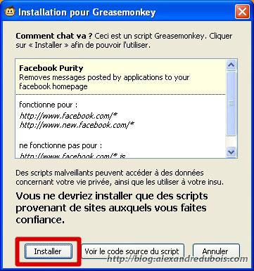 Confirmation de l'installation de FB Purity