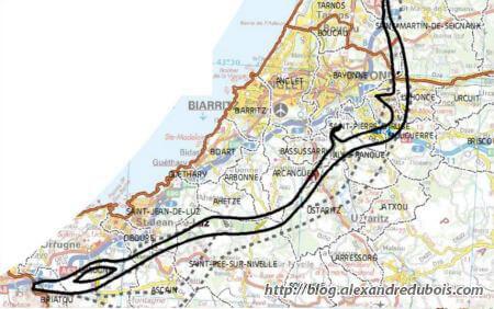 Carte du tracé du couloir de 1000 mètres ou passera la LGV