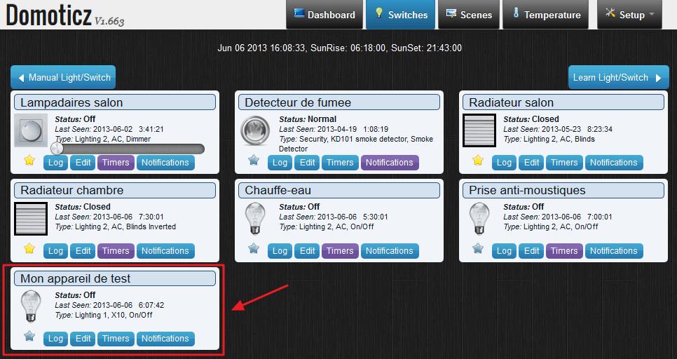 L'écran switches (interrupteurs) de Domoticz : Chaque bloc correspond à un appareil (=prise) différent
