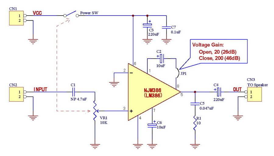 Schéma de l'amplificateur. On voit dans la bulle les 2 configurations possibles du jumper