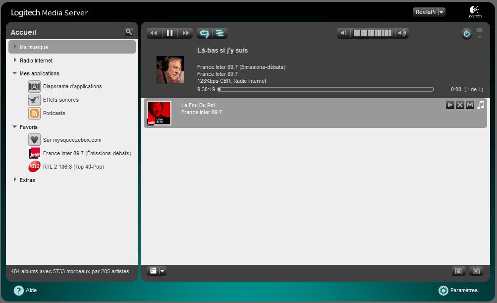 L'interface web de Logitech media Server