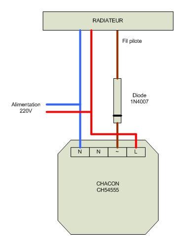 Schéma de câblage pour connecter radiateur, diode et module sans-fil Chacon CH54555
