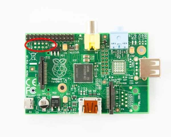 Cerclé de rouge, le connecteur P5 utilisé par la carte Wolfson. Ce connecteur n'est plus disponible sur le modèle B+ du RaspberryPi