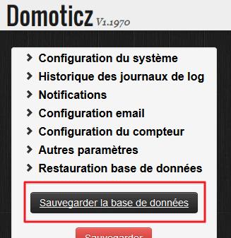 Le bouton qui vous permettra de sauvegarder données et config de Domoticz