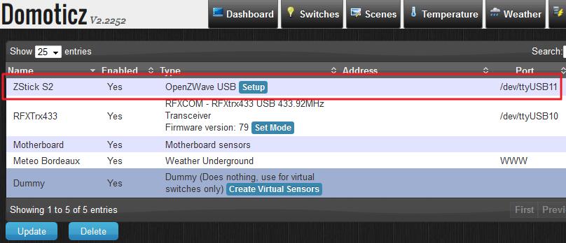 Interfaces disponibles dans Domoticz. On voit le Z-Stick aux côtés du RFXCom