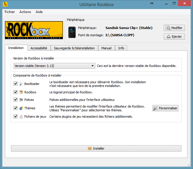 Choix des options de configuration de Rockbox