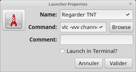 Configuration du lanceur qui permettra de démarrer VLC avec les bons réglages