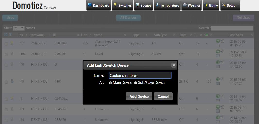 On clique sur la flèche verte et on choisit un nom pour le module