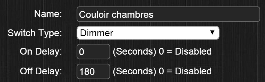 """La valeur """"180"""" indique le nombre de seconde que Domoticz doit attendre avant d'envoyer l'ordre d'extinction au module."""