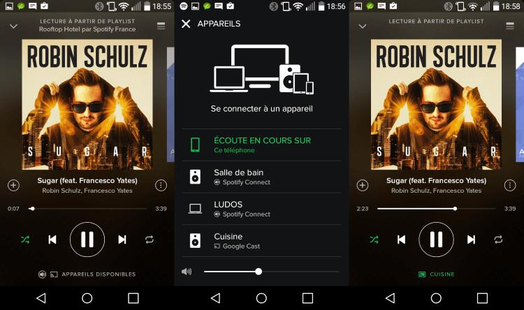 """A l'usage le Chromecast est géré comme les autres appareils Spotify Connect sur mobile : l'icône """"Cast"""" signale la présence de l'appareil et d'un clic la musique est transférée sur mon Chromecast Audio, dans ma cuisine"""