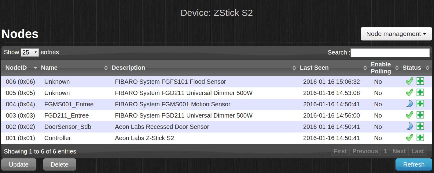 """Si la manoeuvre a bien fonctionné, vous devez voir le Flood Sensor apparâitre dans l'onglet Setup > Hadware et en cliquant sur le bouton """"Setup"""" du ZStick"""