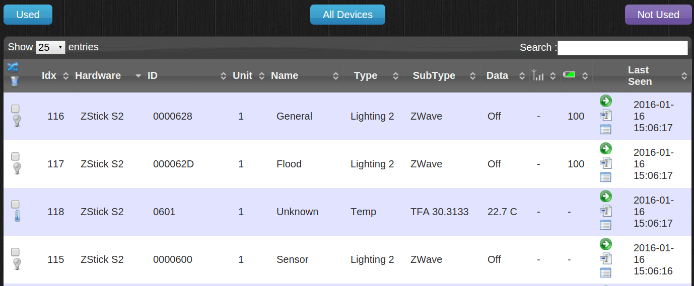 """VOici les différents """"devices"""" qui apparaissent après l'association du Fibaro Flood Sensor. Ici, seule la ligne """"Flood"""" m'intéresse."""