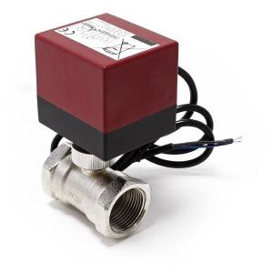"""Un exemple d'électrovanne pilotable avec un module Fibaro """"classique""""."""
