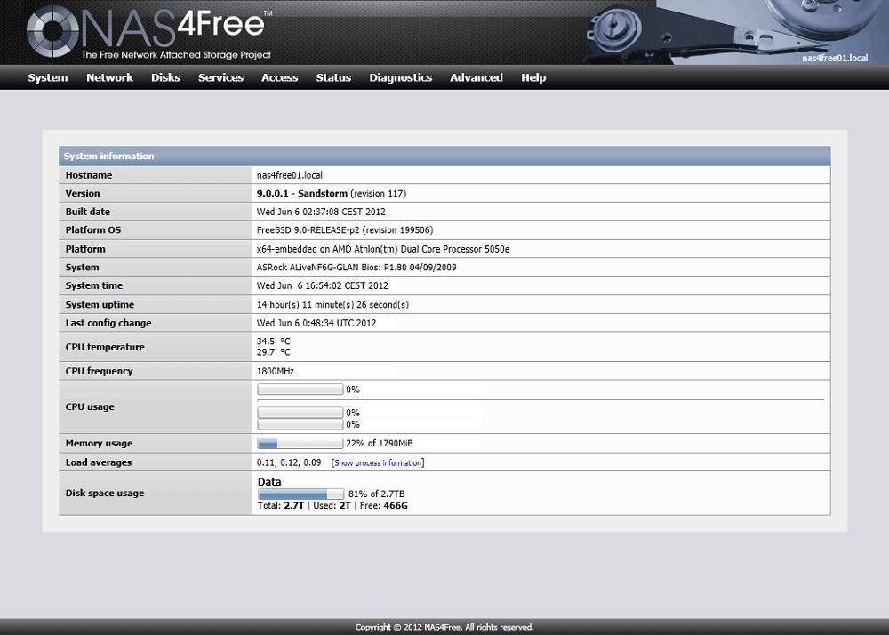 NAS4Free : Une interface austère mais efficace.