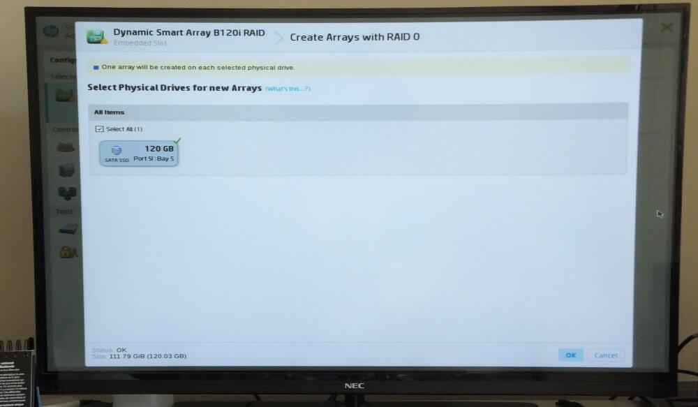 Un aperçu du gestionnaire RAID intégré au Microserver HP Gen 8.