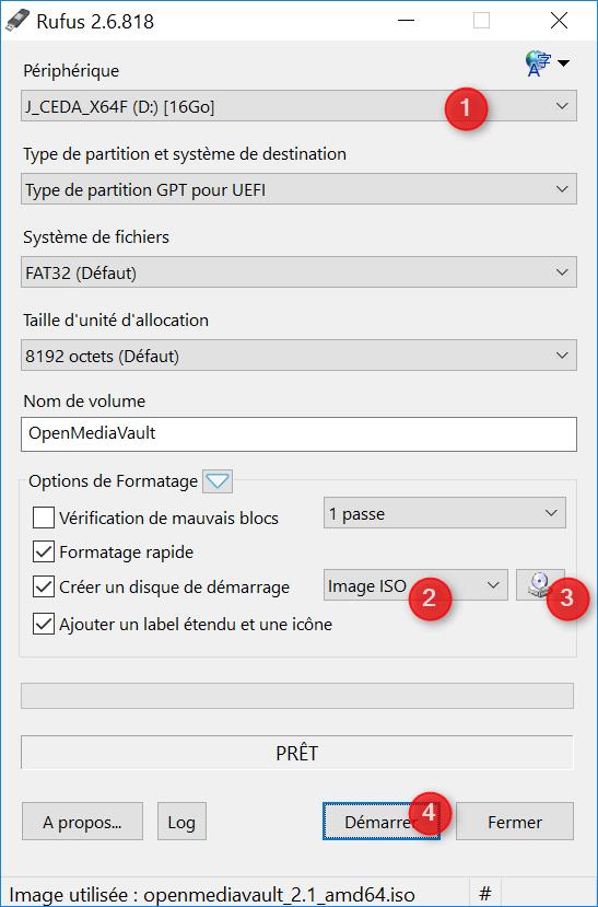 """RUFUS, un outil plutôt simple à utiliser. Choisisser la clé USB à utiliser (1), indiquer """"Image ISO"""" (2), et sélectionner l'emplacement de votre image d'OpenMediaVault (3). Enfin, cliquez sur """"Démarrer"""" (4) pour lancer l'opération."""