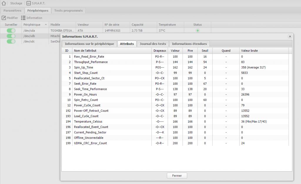 L'écran d'affichage des informations SMART d'un disque. Chaque ligne correspond à un indicateur que le disque auto-mesure en permanence. OpenMediaVault surveille ces indicateurs pour vous prévenir avant qu'il ne soit trop tard.