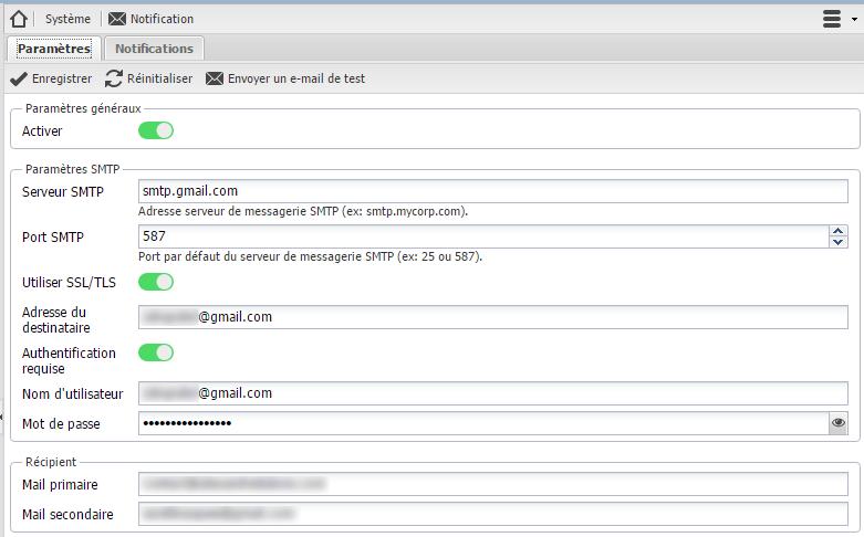 L'écran de paramètrage des alertes mail d'OpenMediaVault. Voici la manière dont il faut le configurer avec GMail.